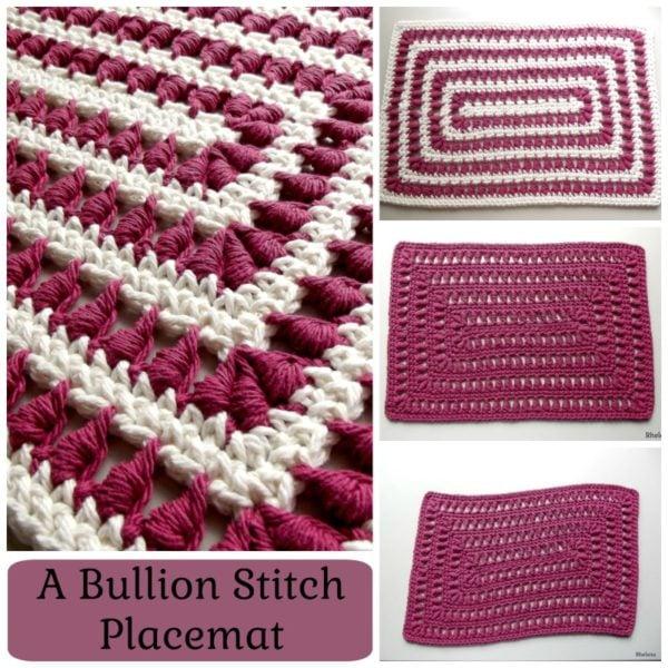 A Bullion Stitch Placemat ~ FREE Crochet Pattern by Rhelena