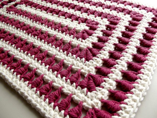 A Bullion Stitch Crochet Lace Placemat Pattern ~ The Free pattern is worked up in two colors here.