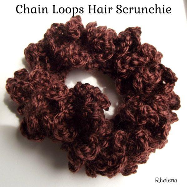 Chain Loops Hair Scrunchie ~ FREE Crochet Pattern