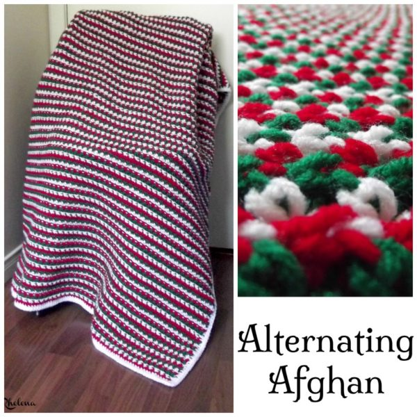 Alternating Striped Christmas Afghan