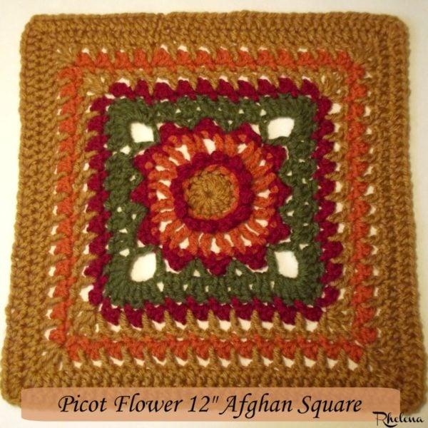 "Picot Flower 12"" Afghan Square ~ FREE Crochet Pattern"
