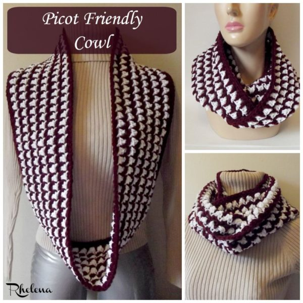 Picot Friendly Cowl ~ FREE Crochet Pattern