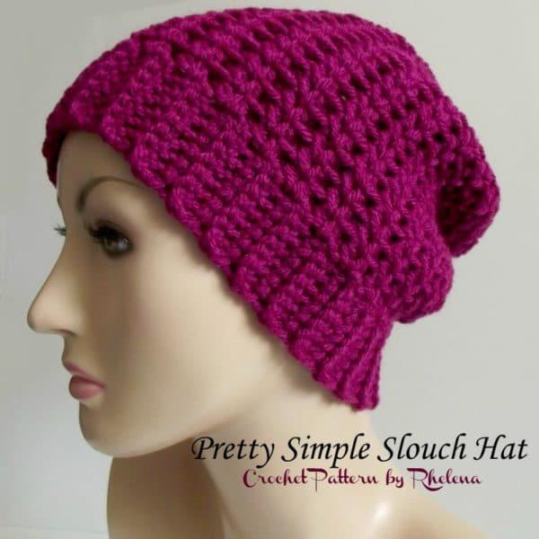 Pretty Simple Slouch Hat Free Crochet Pattern