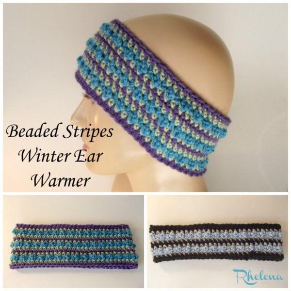 Beaded Stripes Winter Ear Warmer Crochetncrafts