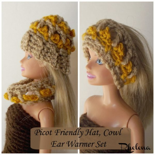 fa3f9637e23 Picot Friendly Hat   Cowl for the Fashion Doll ~ FREE Crochet Pattern