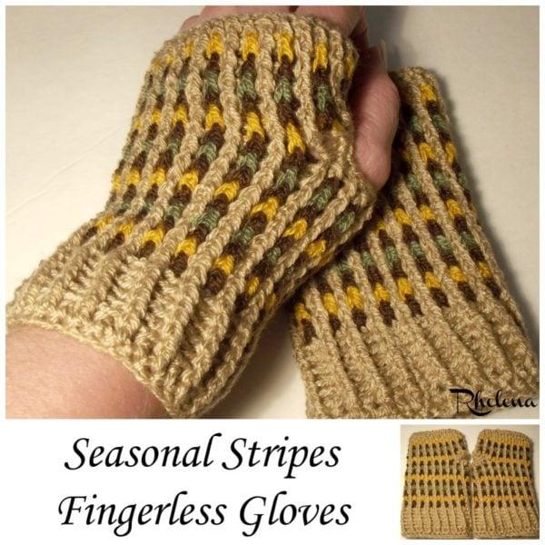 Seasonal Stripes Fingerless Gloves Crochetncrafts