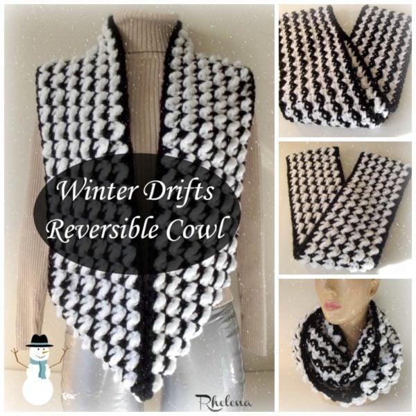 Winter Drifts Reversible Cowl ~ FREE Crochet Pattern