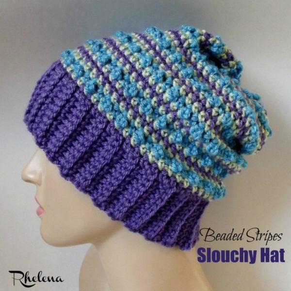 Beaded Stripes Slouchy Hat ~ FREE Crochet Pattern