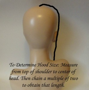 Measure from Top of Head to Top of Shoulders to determine the length needed for your starting chains.