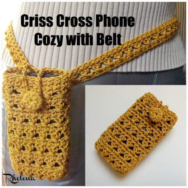 Criss Cross Phone Cozy with Belt ~ FREE Crochet Pattern