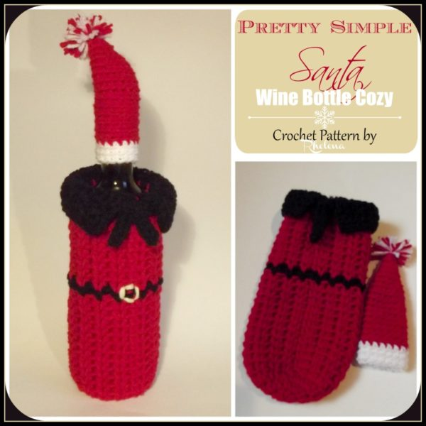 Pretty Simple Santa Wine Bottle Cozy Crochetncrafts