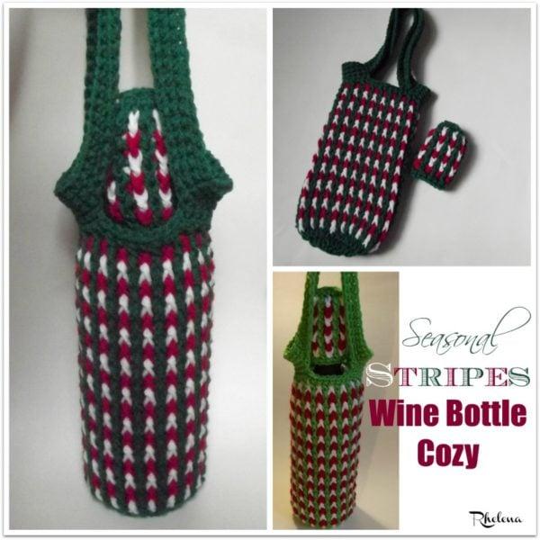 Seasonal Stripes Wine Bottle Cozy ~ FREE Crochet Pattern