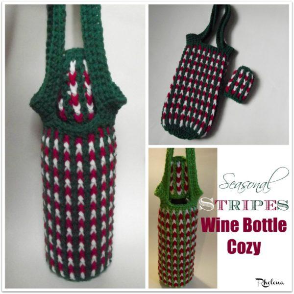 Seasonal Stripes Wine Bottle Cozy Crochetncrafts