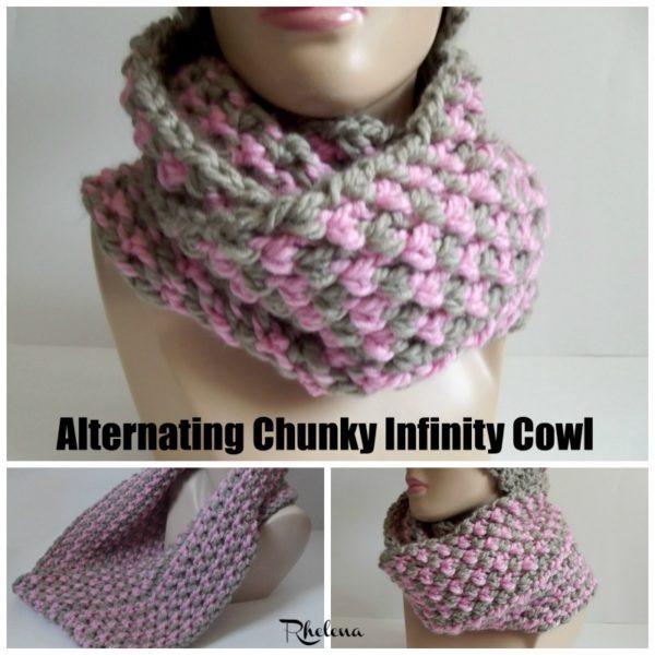 Alternating Chunky Infinity Cowl Crochetncrafts