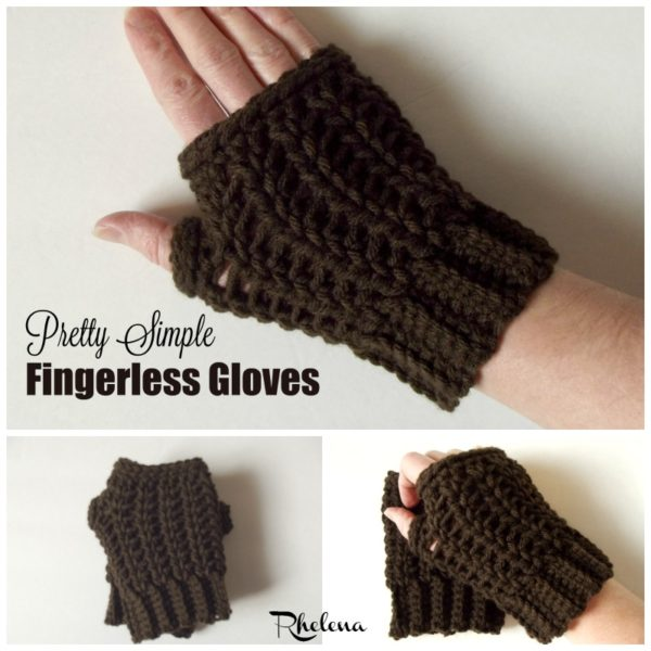 Crochet Fingerless Gloves Pattern Easy : Pretty Simple Fingerless Gloves - CrochetNCrafts