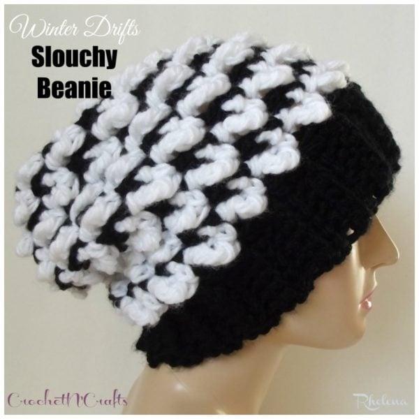 Winter Drifts Slouchy Beanie ~ FREE Crochet Pattern