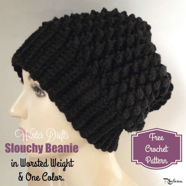 Winter Drifts Slouchy Beanie in Worsted Weight ~ FREE Crochet Pattern
