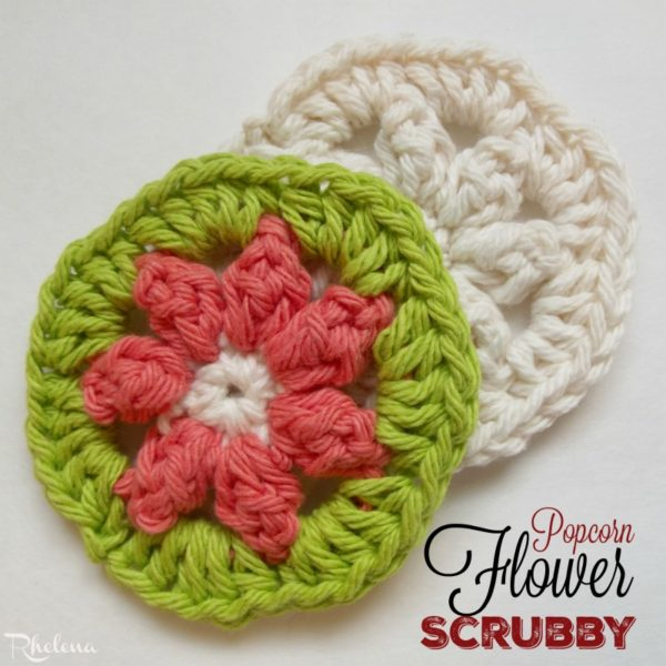 Crochet Popcorn Flower Free Pattern : Popcorn Flower Scrubby - CrochetNCrafts