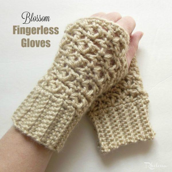 Blossom Fingerless Gloves Crochet Pattern Modeled on the Left Hand.