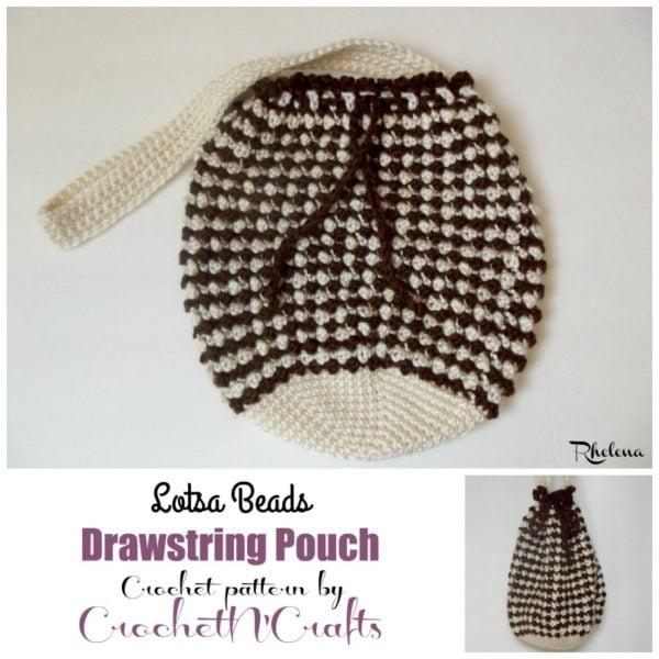 Crochet Drawstring Pouch Pattern : Lotsa Beads Drawstring Pouch - CrochetNCrafts
