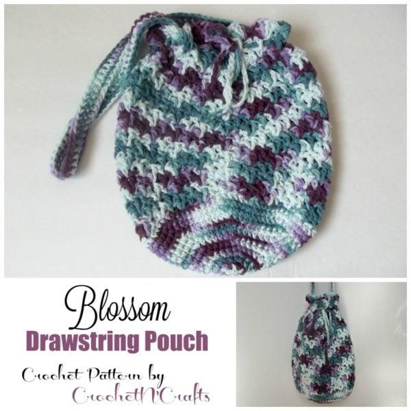 Blossom Drawstring Pouch ~ FREE Crochet Pattern