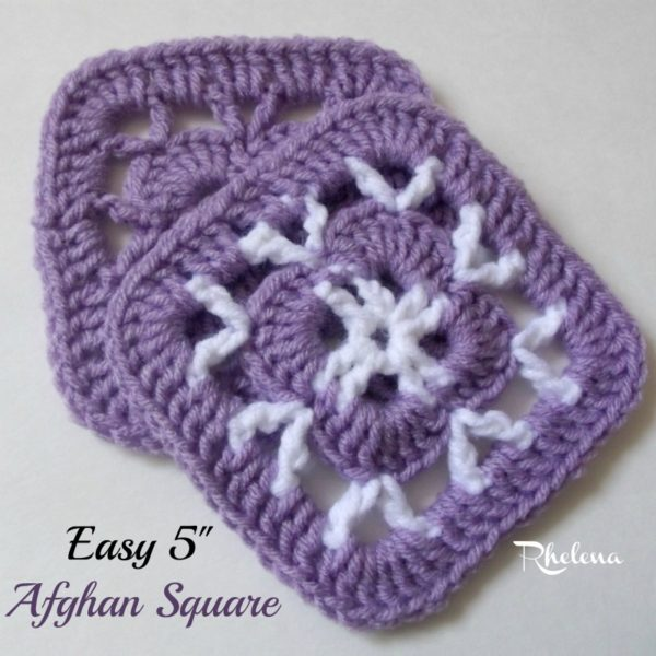 Easy 5 Afghan Square - CrochetNCrafts