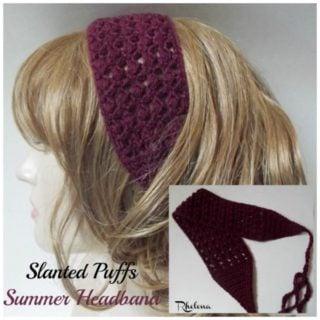 Slanted Puffs Summer Headband ~ FREE Crochet Pattern