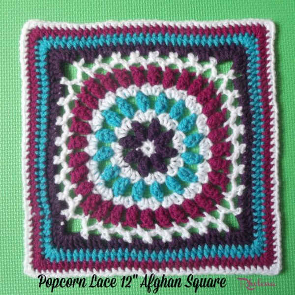 """Popcorn Lace 12"""" Afghan Square ~ FREE Crochet Pattern"""