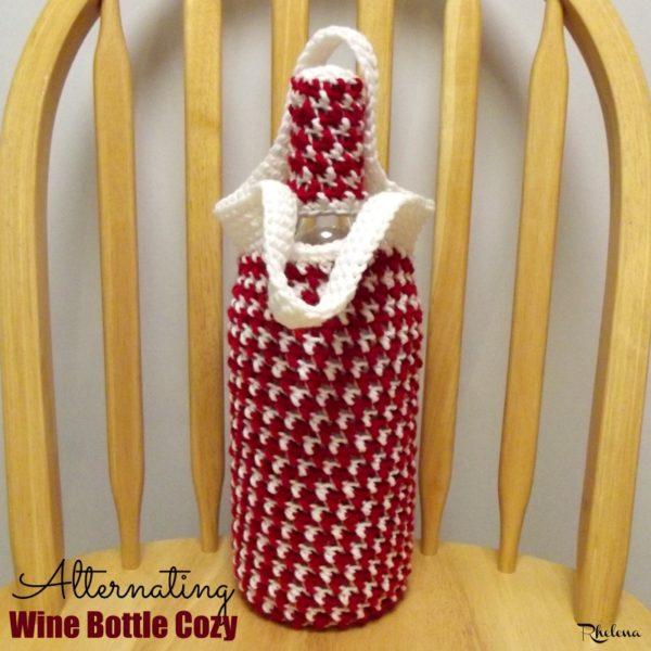 Alternating Wine Bottle Cozy ~ FREE Crochet Pattern