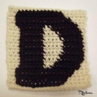 D-Uppercase Tapestry Block ~ FREE Crochet Pattern