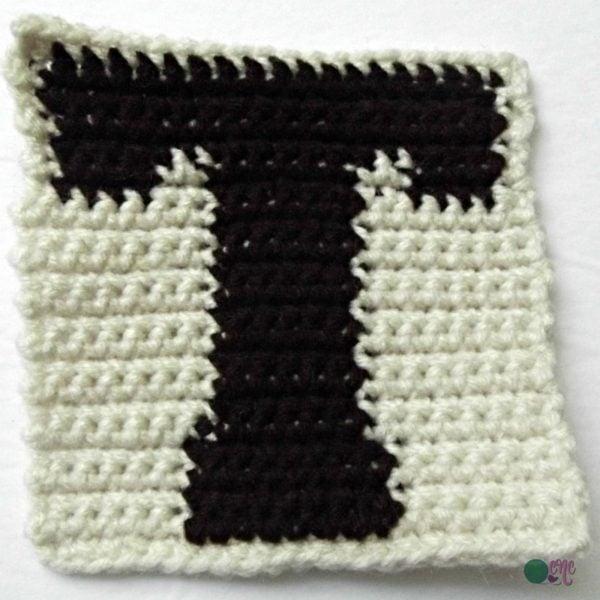 T-Uppercase Tapestry Block ~ FREE Crochet Pattern