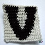 V - Uppercase Tapestry Crochet Block ~ FREE Crochet Pattern