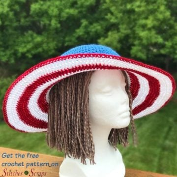 Wide Brimmed Sun Hat Modeled on a Mannequin. Shown in American Colors.