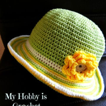 Toddler Striped Brim Sun Hat by My Hobby is Crochet