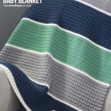 Colorblock striped baby blanket.
