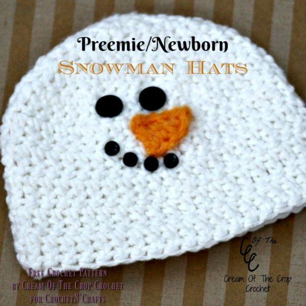 Preemie/Newborn Snowman Hats by Cream Of The Crop Crochet