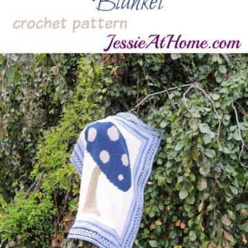 Crochet Corner to Corner Tapestry Mushroom Blanket.