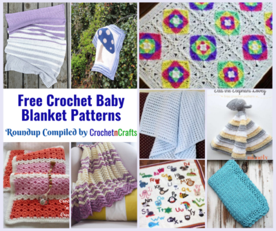 Collage of free crocheted baby blankets.