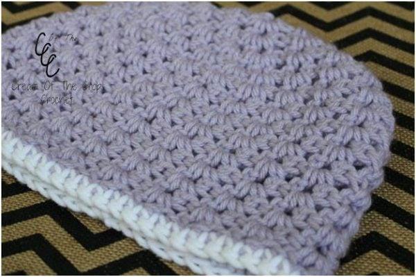 V-Stitch Hat ~ Contrast Edging