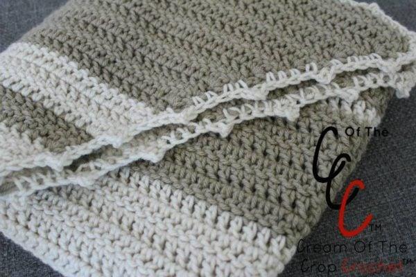 Simple Striped Shawl Crochet Pattern by Cream Of The Crop Crochet