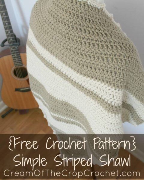 Simple Striped Shawl by Cream Of The Crop Crochet