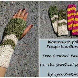 Women's Ripple Fingerless Gloves by EyeLoveKnots for The Stitchin' Mommy