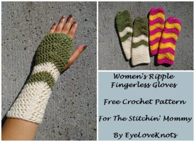 Women's Ripple Fingerless Gloves by EyeLoveKnots for The Stitchin' Mommy