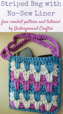 Striped Bag with No-Sew Liner by Underground Crafter