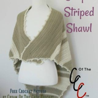 Simple Striped Shawl ~ FREE Crochet Pattern by Cream Of The Crop Crochet for CrochetN'Crafts
