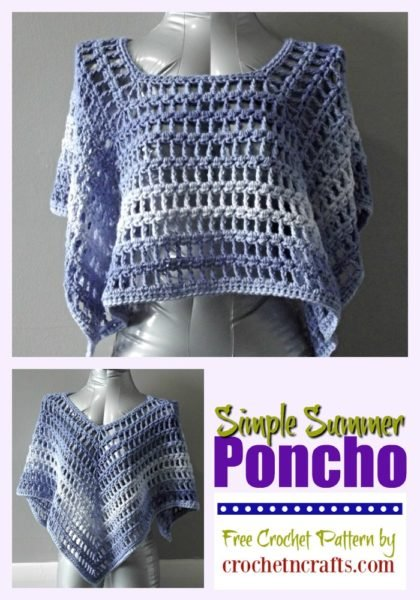 A simple summer poncho that can be worn in two ways as shown: one way with the four points at the sides at front and back, and the other is with one point in front , back and both sides.