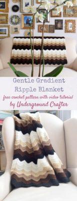 Gentle Gradient Ripple Blanket by Underground Crafter