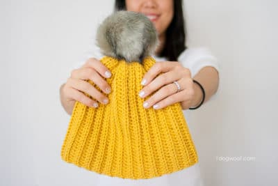 Lolly-Poms Ribbed Beanie by One Dog Woof