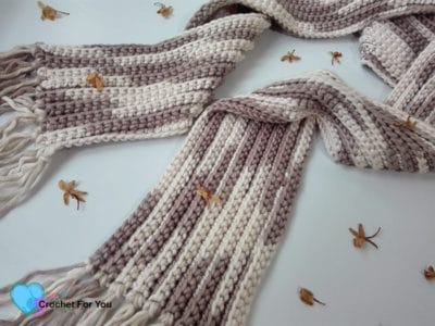 Easy Ribbed Scarf by Crochet For You