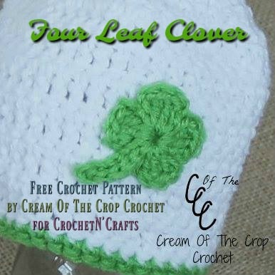 Crochet Four Leaf Clover by Cream Of The Crop Crochet